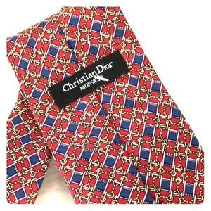 Christian Dior red blue and gold print silk tie